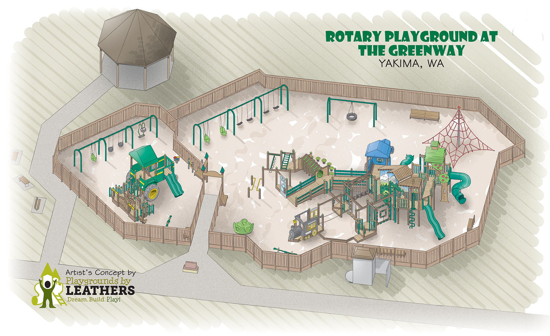 Rendering of Greenway Playground at Rotary Park